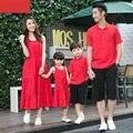 Твердые семьи соответствующие наряды семья одежда мать / мама и дочь длинное платье отца сыну топы семьи соответствующие одежда CH56