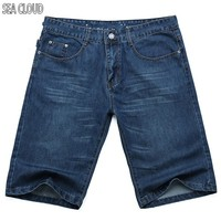 Free Shipping Summer Thin Denim Shorts Male Plus Size Loose Straight Knee Length Trousers Men S