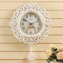 LISHENG Wall Clocks modern mute Pendulum Watch European style creative Rose Retro Clock for bedroom