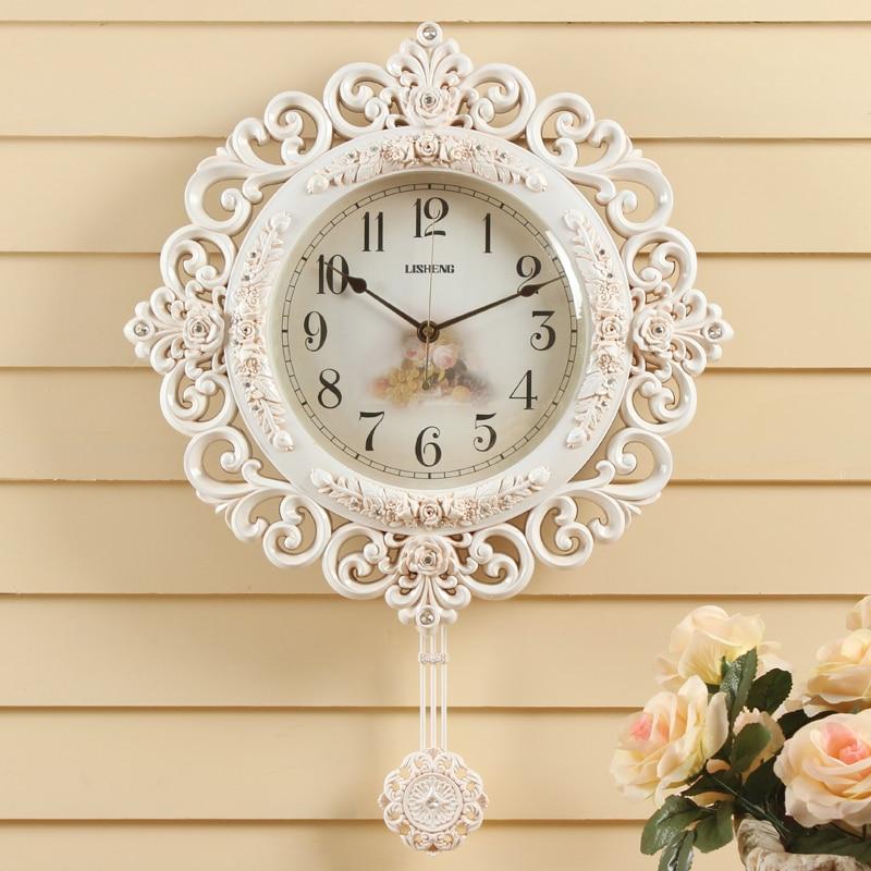 lisheng wall clocks modern mute pendulum watch european style creative rose retro clock for bedroom - Pendulum Wall Clock