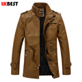 LKBEST 2017 New long men leather jacket punk warm mens leather jackets and coats fashion motorcycle leather jacket outwear(PY26)