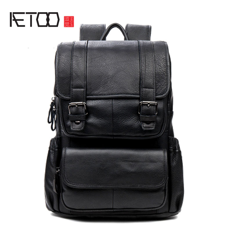 AETOO Men and women leather backpack leisure first layer of leather backpack travel bag aetoo leather men bag wild european and american first layer of leather men s shoulder bag trend backpack