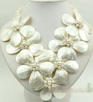 Горячая распродажа! белый швабры перлы раковины и жемчужное ожерелье цветок