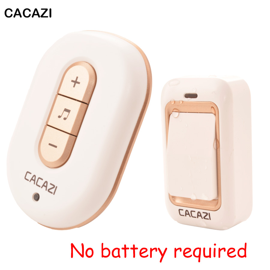 CACAZI No Battery Self-powered doorbell 200M range waterproof Electric Door bell wireless US EU Plug chime 1 Button 1 receiver cacazi ac 110 220v wireless doorbell 1 transmitter 6 receivers eu us uk plug 300m remote door bell 3 volume 38 rings door chime