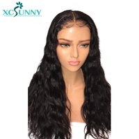 xcsunny Pre Plucked Full Lace Wigs Human Hair With Baby Hair Glueless Natural Black Indian Remy Hair For Women Wavy 130% Density