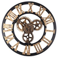HOT! 17.7 Inch 3D Large Retro Decorative Wall Clock Big Art Gear Design Silently Home Decoration Copper Clock