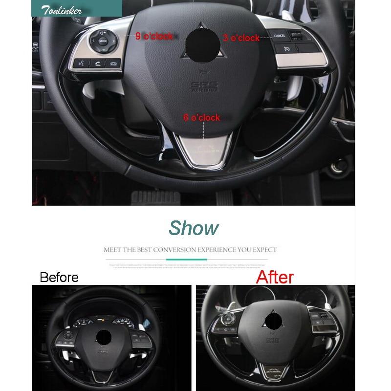 Tonlinker 1-4 Pcs DIY nuevo Car Styling cubierta del volante de acero inoxidable caso pegatinas para Mitsubishi Outlander 2013-17