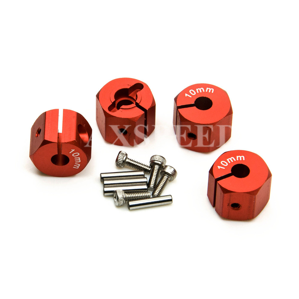 4pcs 8mm/9mm/10mm/11mm/12mm Thickness Hex 12mm Aluminum Wheel Hex Drive Adaptors and Pins Alloy Metal For 1:10 RC Car Wheels Rim