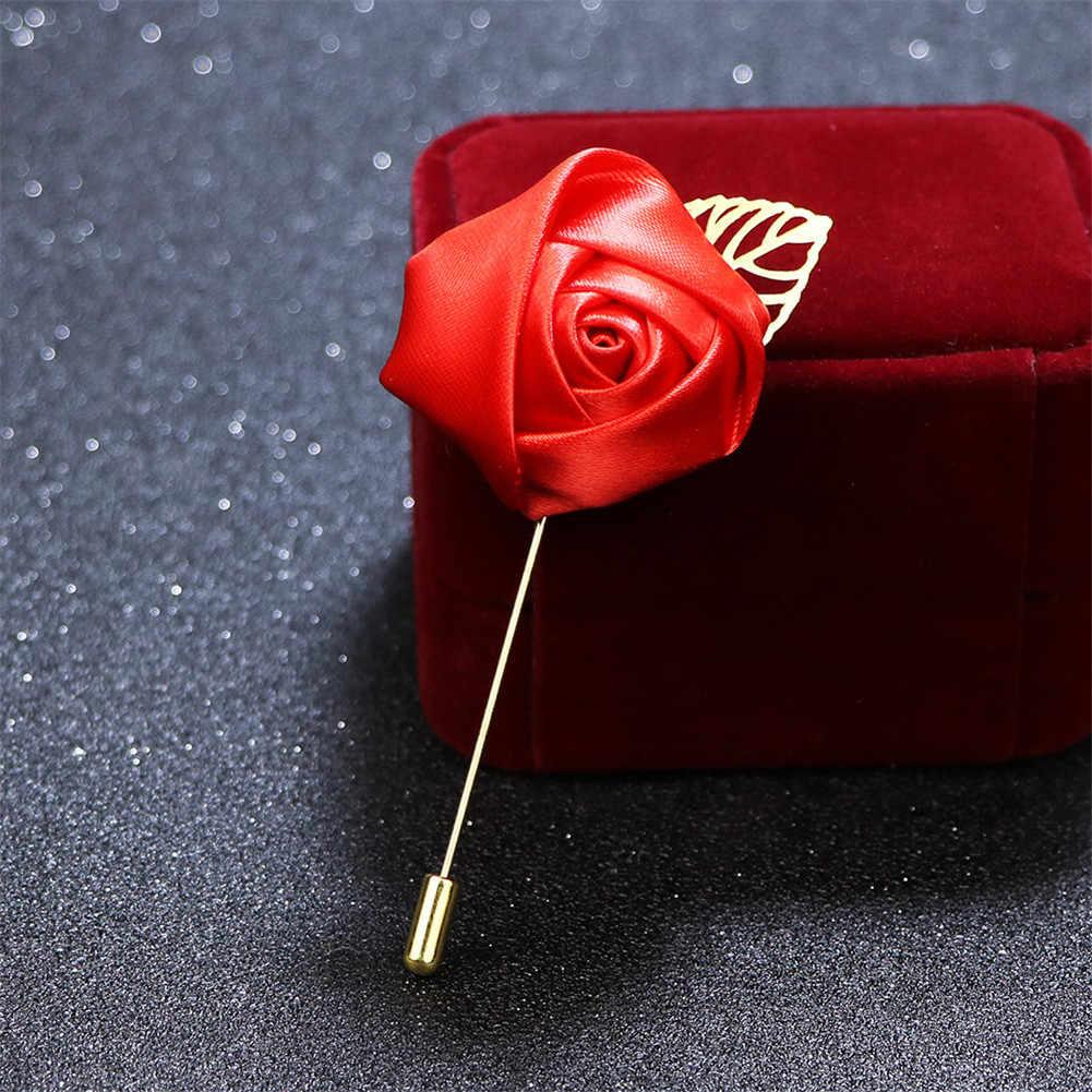 Pria Perapi Pin Bros Bunga Kain Pita Dasi Pin 19 Warna Solid Bunga Bros untuk Wanita Kerah Pin Pria suit Aksesoris