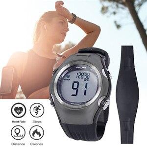 Image 2 - Часы мужские/женские спортивные с пульсометром, водонепроницаемые цифровые беспроводные оранжевые с нагрудным ремешком, для бега, велоспорта