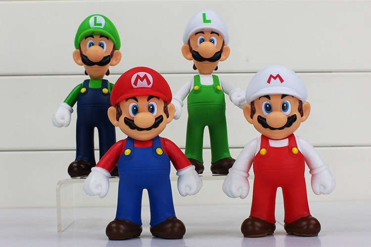 4pcs/lot 13cm Super Mario Bros Luigi Mario PVC Action Figure Toy Doll Cute Gifts For Children Kid 1