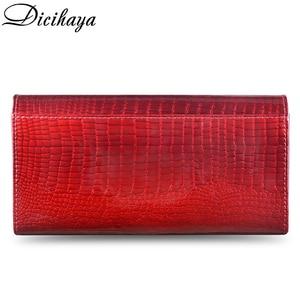 Image 3 - Dicihaya Echt Leer Vrouwen Portefeuilles Multifunctionele Portemonnee Rode Kaarthouder Lange Portemonnee Clutch Bag Dames Patent Lederen Portemonnee