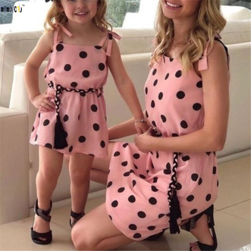 Household Match Outfits Summer season Costume Sling Bandage Polka Dot Mom Daughter Attire Mother and Women Garments 1 2 three four 5 Years Matching Household Outfits, Low-cost Matching Household...