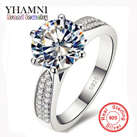 Big Promotion GALAXY 925 Sterling Silver Jewelry 2 Carat CZ Diamond Zircon Wedding Rings For Women