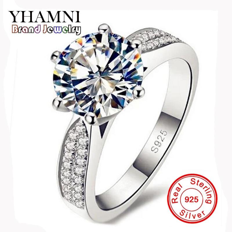 Губете пари Промоция 100% Сребърни пръстени 925 Бижута Луксозни 8мм 2 Карат CZ Диамантени Цирконови Сватбени Пръстени За Жени YH012