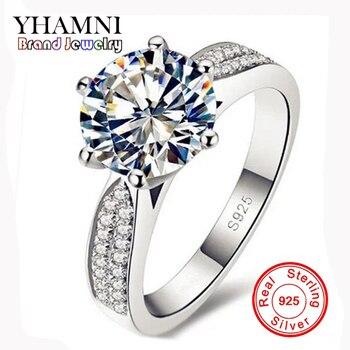 1d9a7ff411e7 Pierda La Promoción del Dinero 100% 925 Anillos de Plata de la Joyería de  Lujo 8mm 2 Quilates CZ Diamant Circón Anillos de Bodas Para Las Mujeres  YH012