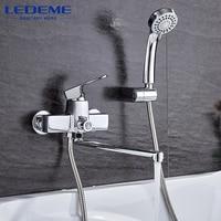 LEDEME Modern Style 1 Set Bathroom Bathtub Faucet Chrome Brass Cold And Hot Water Mixer Chrome