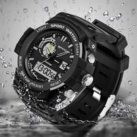 SANDA Top Brand Men LED Digital Sports Quartz Watches Dual Display Fashion Wristwatches Clock 30M Waterproof