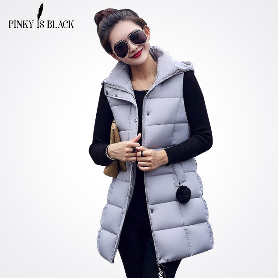 Pinky es negro mujeres invierno chaleco mujer chaleco largo chaqueta sin  mangas con capucha Abrigos de plumas algodón chaleco caliente hembra en  Chalecos y ... 3d6aaaf51fda