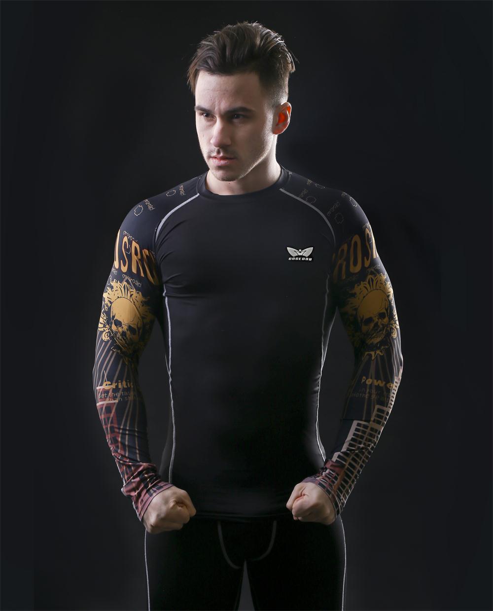 Männer Kompressions-T-Shirts MMA Rashguard Fit halten Fitness Kurze - Herrenbekleidung - Foto 4