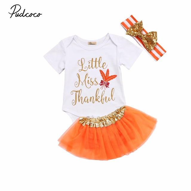 364dbd2a83ed 3PCS Cute Newborn Baby Girls Infant Thanksgiving Clothes Kids Princess  Cotton Romper Tutu Skirts Headband Outfits Clothing Sets