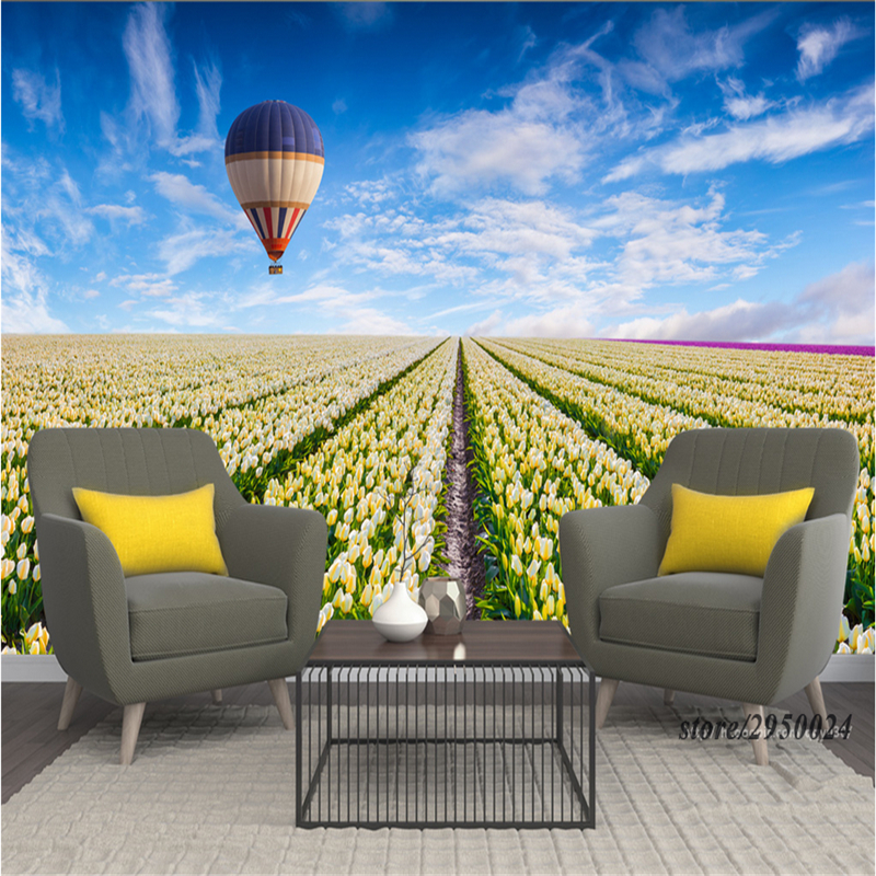 Wallpaper Pattern 3d Desktop Backgrounds Tulip Flower Sea Hot Air Balloon Environment Friendly Desktop Background Wallpaper