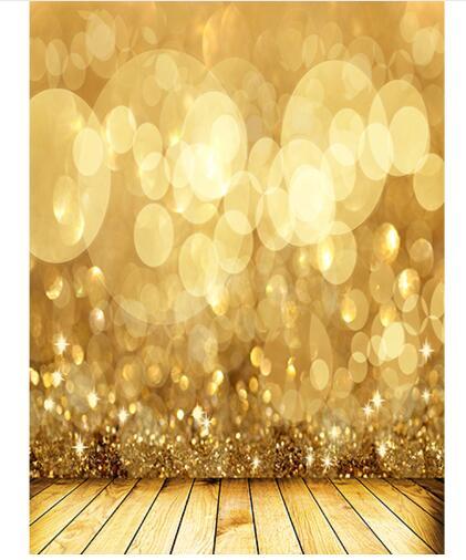 Custom Christmas Vinyl Cloth Golden Bokeh Shiny