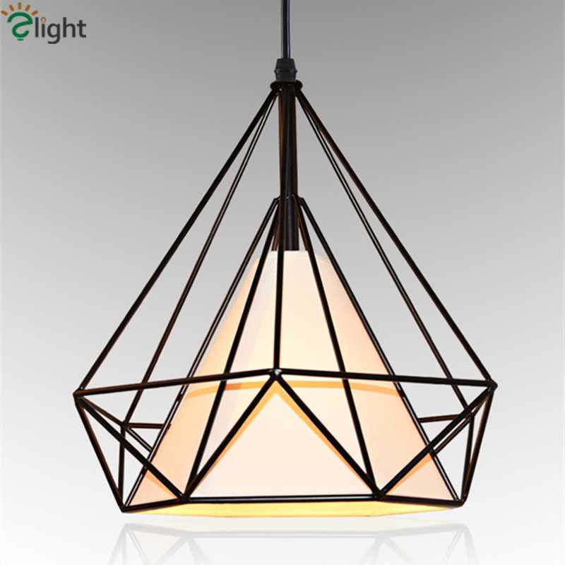 Modern Diamond Iorn Led Pendant Chandelier Lighting Simple Fabric Shades Dining Room LED Chandeliers Light Loft Led Hanging Lamp modern crystal chandelier hanging lighting birdcage chandeliers light for living room bedroom dining room restaurant decoration
