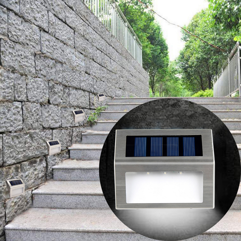 Stainless Steel LED Solar Lamp 3LED Waterproof Outdoor Wall Light Cheap And Durable Courtyard Pathway Fence Stair Light Solaire