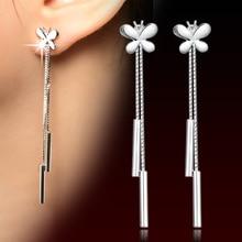 цена 100% 925 sterling silver fashion butterfly ladies`tassels stud earrings jewelry women Anti allergy Christmas gift drop shipping в интернет-магазинах
