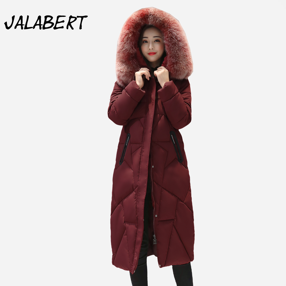 2017 new winter cotton coat women long Slim Hooded Fur collar warm thick jacket Female Back star star pattern Parkas women winter coat leisure big yards hooded fur collar jacket thick warm cotton parkas new style female students overcoat ok238