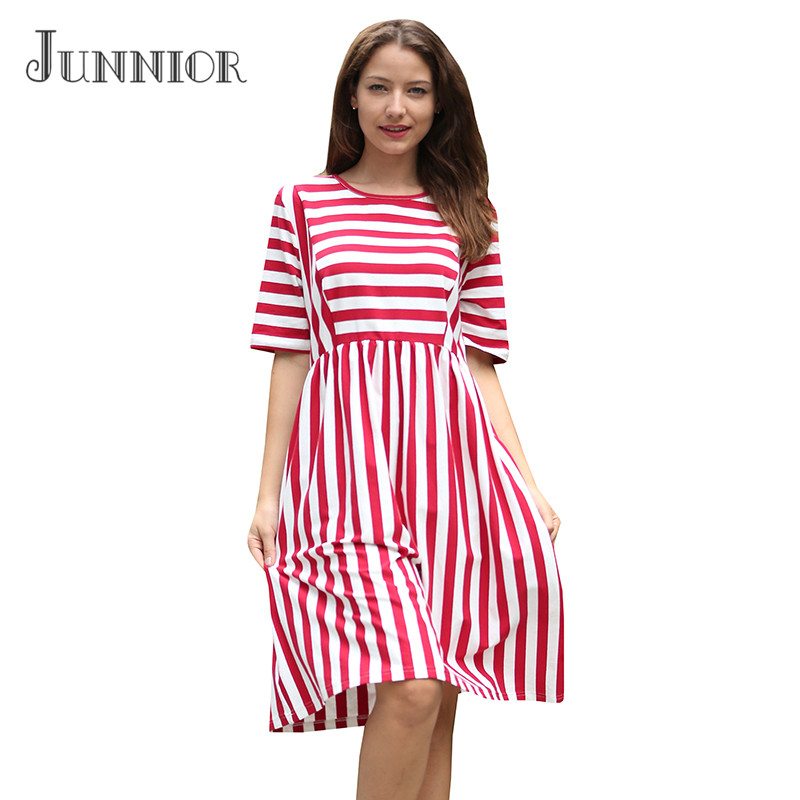 JUNNIOR 2018 Summer New Dress Women Striped Dresses Round Neck Evening Party Casual Dress