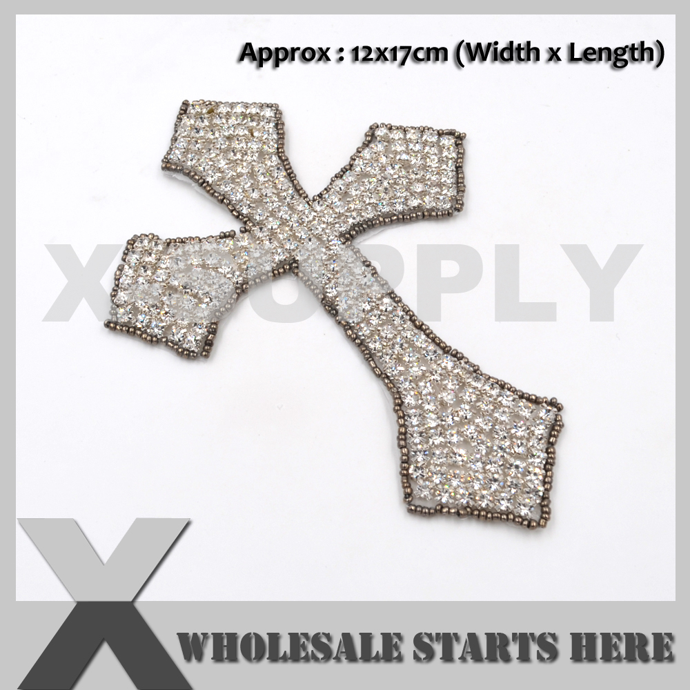 (2pc/lot) CROSS Crystal Rhinestone Applique Iron On for Hats,Clothes X1-RAT2250