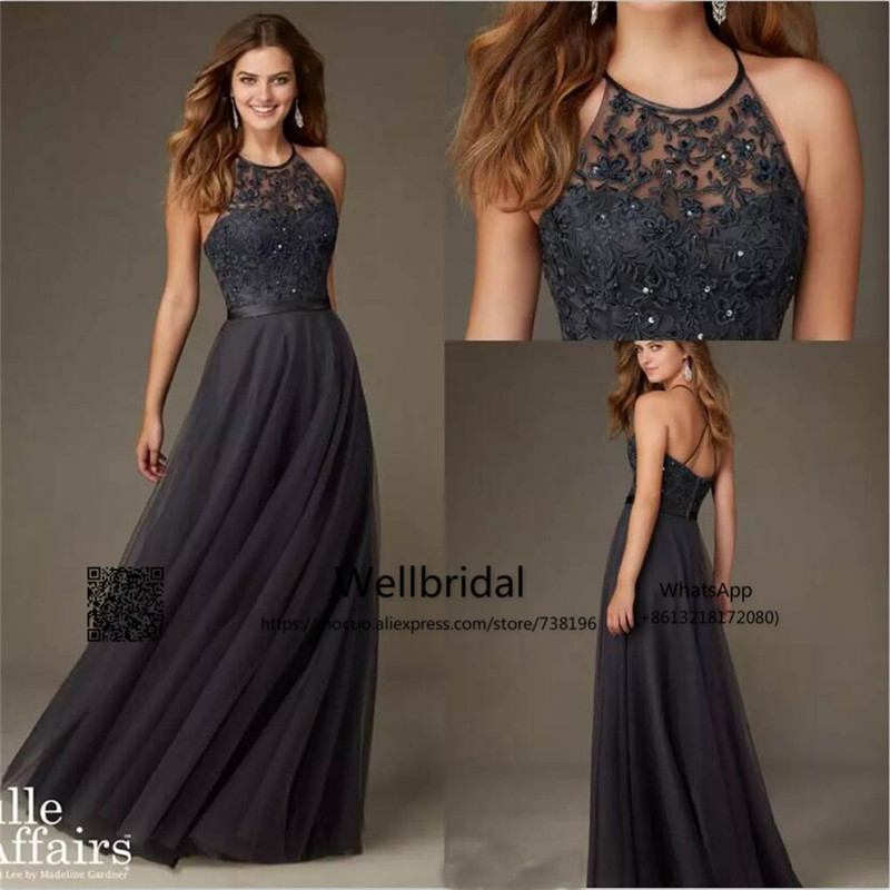 Bridesmaid-Dresses Wedding-Party Dark-Grey Long Lace HALTER with Vestido-De-Festa Casamento