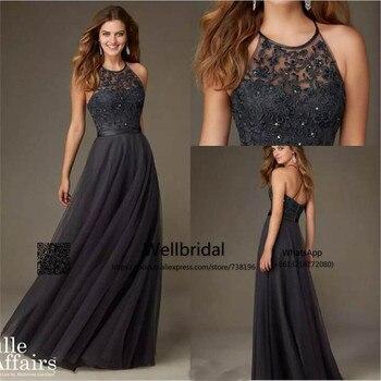New 2019 Dark Grey Bridesmaid Dresses Long with Lace Halter Wedding Party Dress vestido de festa de casamento bridesmaid dress