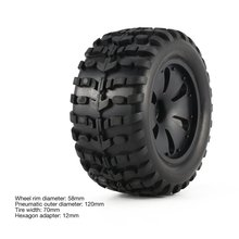 1 Pair 1:10 RC Car Tire Monster Truck Rim solid Wheel High Speed for HPI, Savage, XS, TM Flow, MT, ZD Racing Parts Refit 120mm цена