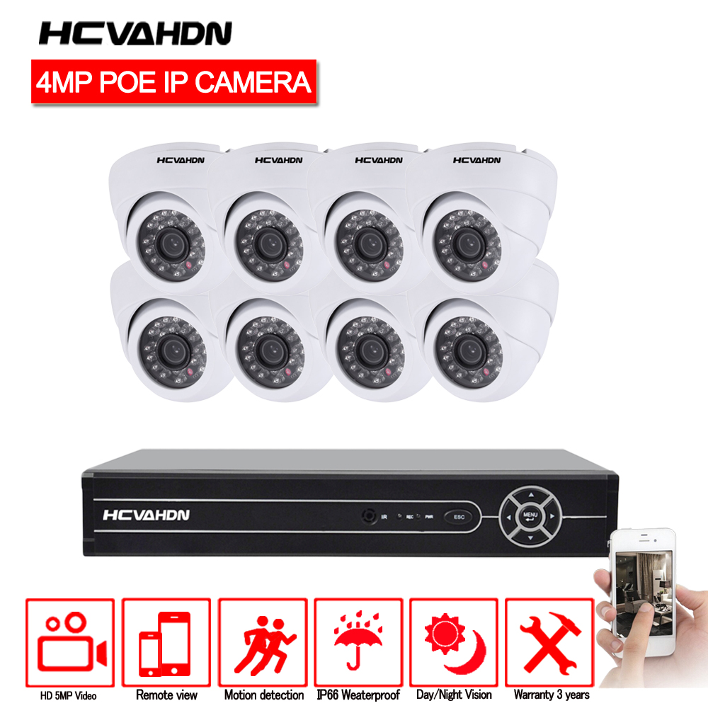 HCVAHDN 8CH Network PoE Video Surveillance System 8pcs 4 0MP Outdoor Indoor White Dome IP Cameras