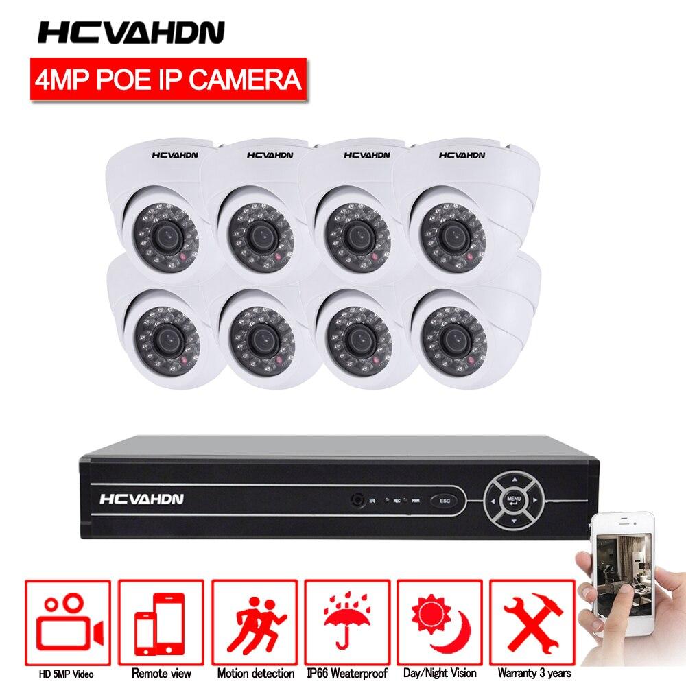 HCVAHDN 8CH réseau PoE système de Surveillance vidéo 8 pièces 4.0MP extérieur intérieur dôme blanc caméras IP CCTV sécurité 5MP NVR Kit