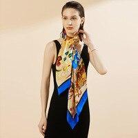 HA120 New Fashion Four Seasons 100% Silk Scarves 110 Cm Large Square Shawl for Women Scarf
