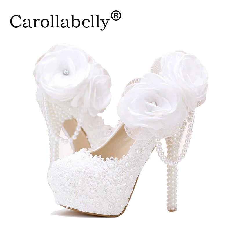 Lace pearl white flowers bridal shoes thin high heel platform shoes with  pearl pendant round pointed toe wedding shoes f4235b12e815