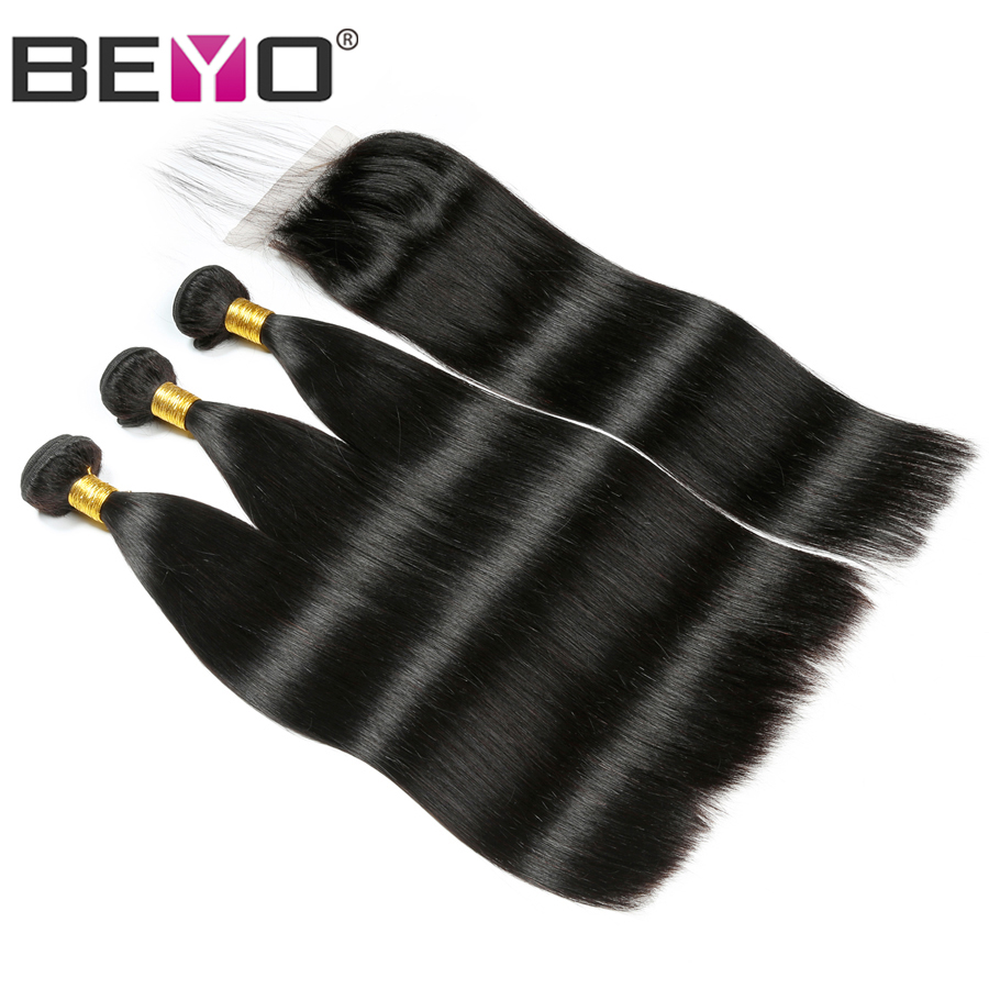 Beyo Hair Straight Peruvian Hair Bundles With Closure 4Pcs/Lot Non-Remy Human Hair Bundles With Closure Hair Bundle Deal