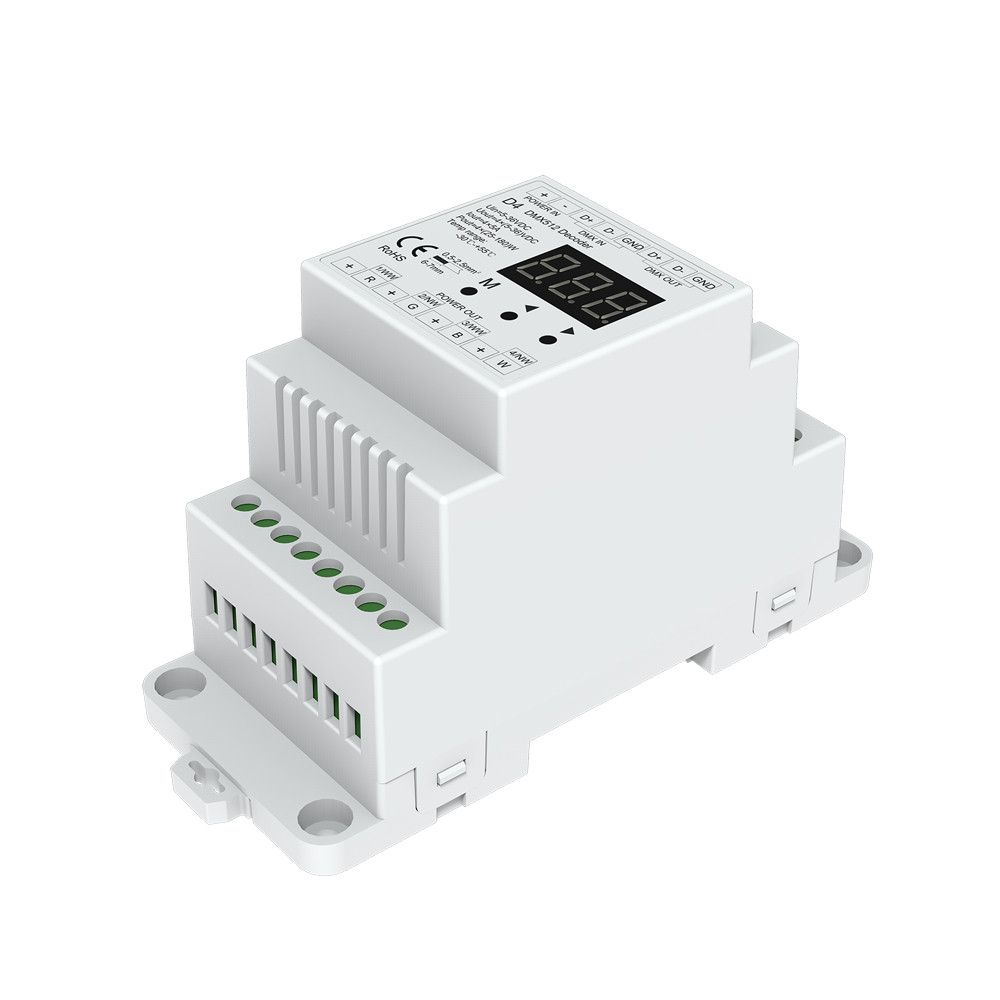 4CH DMX512 Decoder RGB/RGBW Controller Din rail Mounted 4 Channel Dimming Controller 5-24VDC4CH DMX512 Decoder RGB/RGBW Controller Din rail Mounted 4 Channel Dimming Controller 5-24VDC
