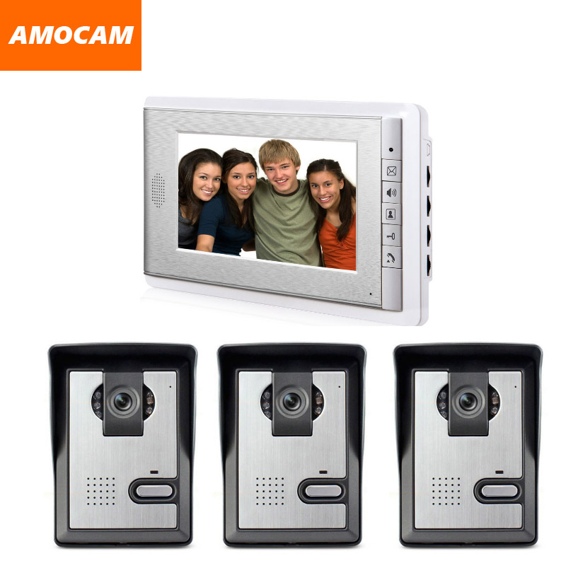 3 Camera 1 Monitor 7 inch screen video door phone intercom System Video doorbell wired night vision camera home intercom system