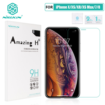 For iPhone X/XS/XR/XS Max/8 Plus Glass Screen Protector NILLKIN Amazing H/H+/H+PRO 9H 2.5D Arc 0.3mm Tempered Glass Protector