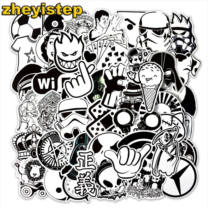 50 Pcs/Set Black and White Stickers for Luggage Laptop Car Styling Fridge Skateboard Vinyl Decal Waterproof Graffiti  Stickers50 Pcs/Set Black and White Stickers for Luggage Laptop Car Styling Fridge Skateboard Vinyl Decal Waterproof Graffiti  Stickers
