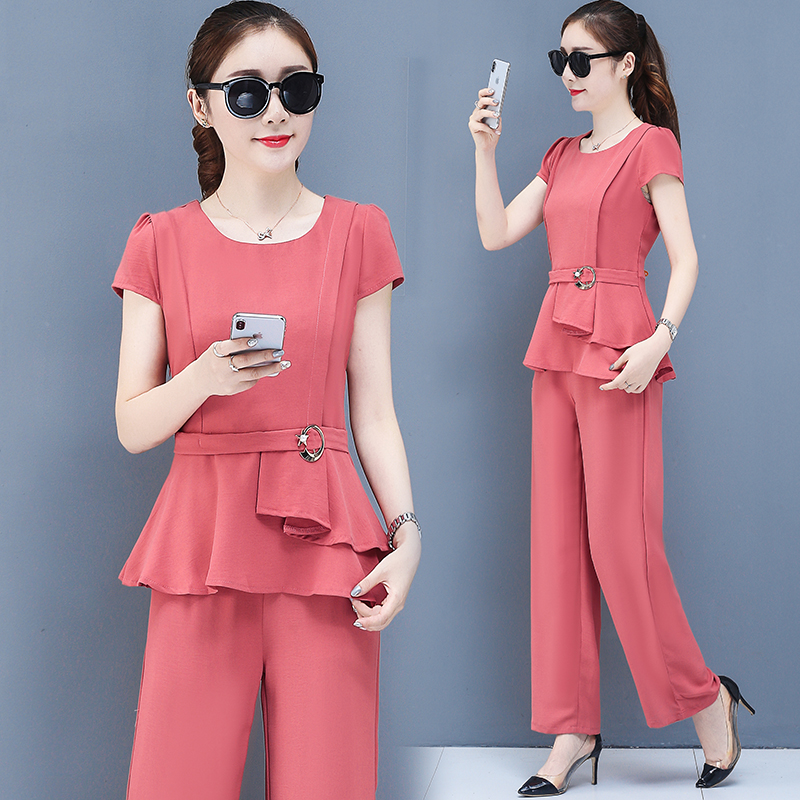 2019 Summer Chiffon 2 Two Piece Sets Outfits Women Plus Size Short Sleeve Tunics Tops And Pants Suits Office Elegant Korean Sets 44