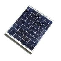 Comercio al por mayor 10 Unids/lote Superficie De Cristal de Silicio Policristalino de Paneles Solares de 20 W 18 V Para 12 V Sistema Casero de Energía Fotovoltaica con Cable