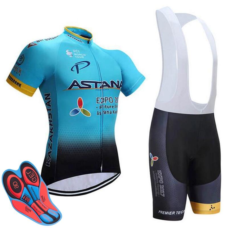 2017 Astana Pro Team Radfahren Jersey Maillot Fahrrad Radfahren Kleidung Fahrrad Kleidung Männer Berg Uniformen Anzug Set