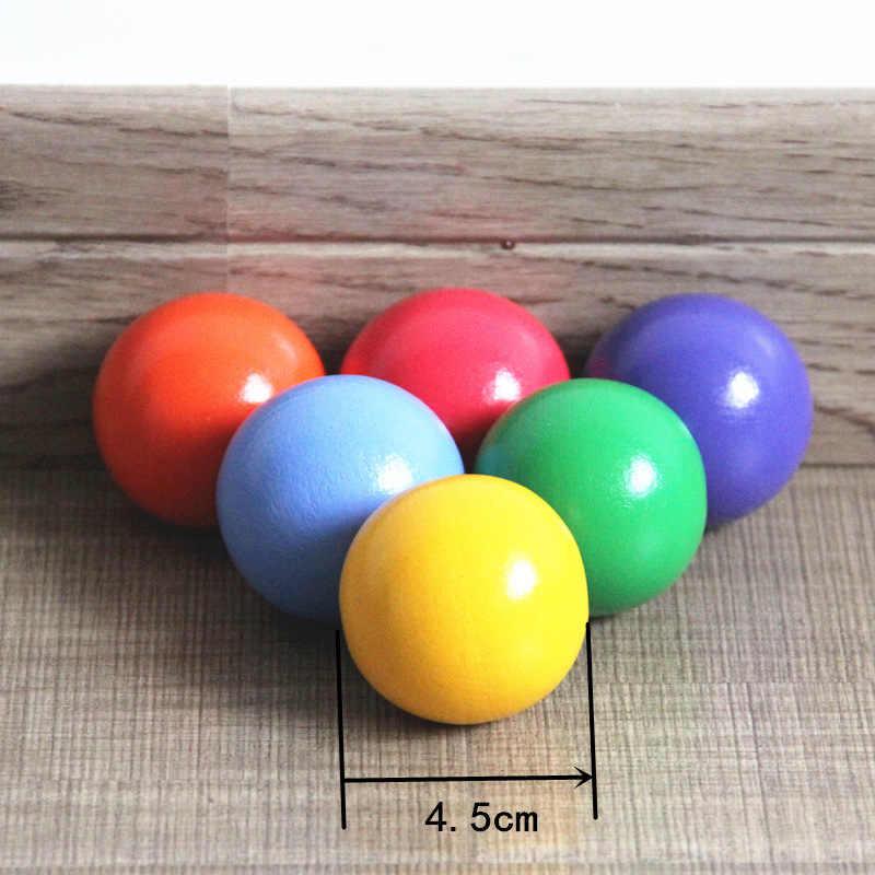 Treendpool Необычные Детские деревянные игрушки 6 шт. цветной Woden мяч набор играть с 12 шт. деревянные радужные блоки деревянные строительные блоки