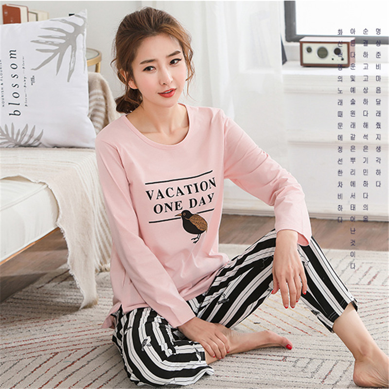Pyjamas Women 2018 Autumn Long sleeve Cotton Home clothes Women night suit Two Piece plus size Sleepwear Ladies   Pajamas     Set   5XL